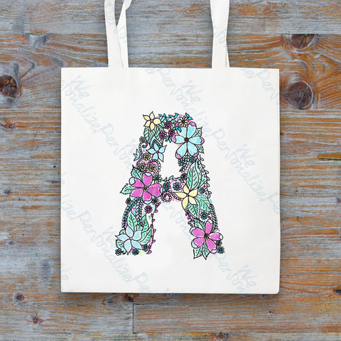 Personalised Floral Initial Tote Bag