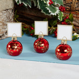Snowflake Bauble Place Card Holder Red