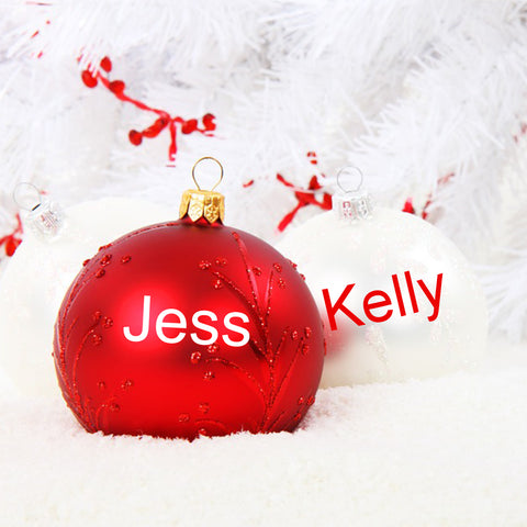Personalised Name Sticker set of 4 for Christmas Bauble