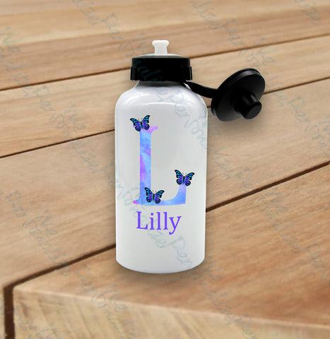 Personalised Purple Butterfly Water Bottle
