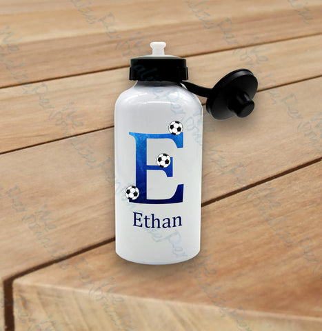 Personalised Blue Football Water Bottle