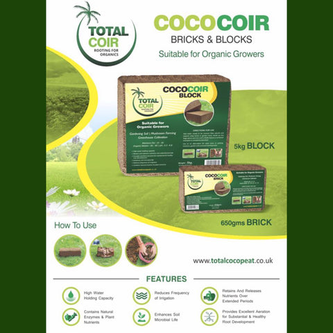 3 Coco Coir Bricks & Blocks suitable for Organic Growers