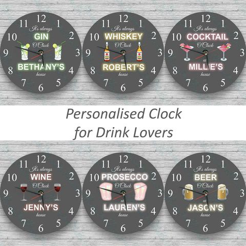 Personalised Wall glass clock - Wine o'clock and others alcohol clocks