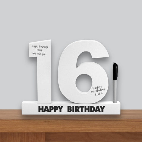 16th Birthday Signature Number Standing Wood Plaque