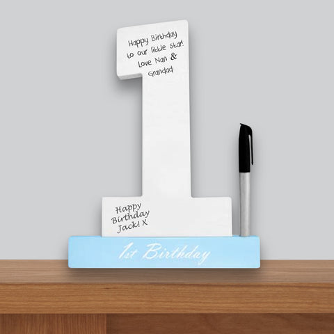 1st Birthday Signature Number Standing Wood Plaque Blue