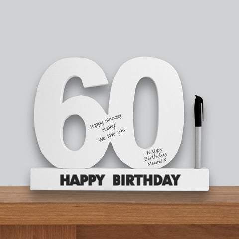 60th Birthday Signature Number Standing Wood Plaque