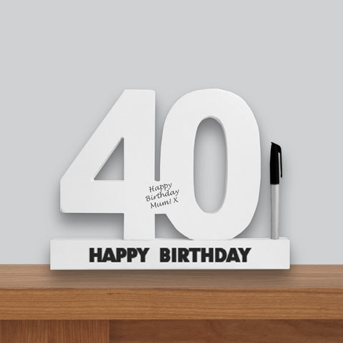 40th Birthday Signature Number Standing Wood Plaque