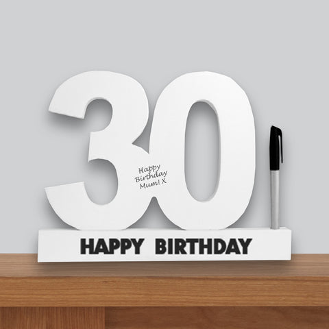 30th Birthday Signature Number Standing Wood Plaque