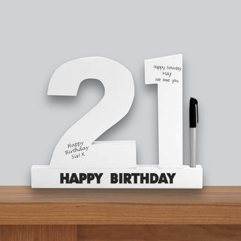 21st Birthday Signature Number Standing Wood Plaque