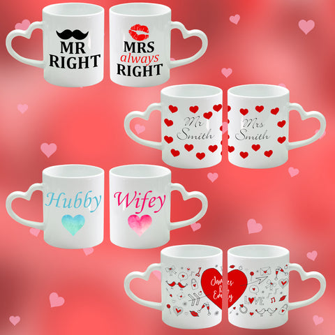 Set of 2 Heart Handle Mugs
