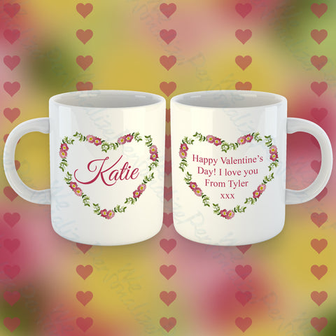 Personalised Heart Wreath Mug