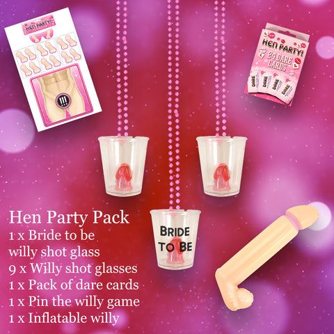 Hen Party Pack with Willy Shot Glass and Hen party accessories
