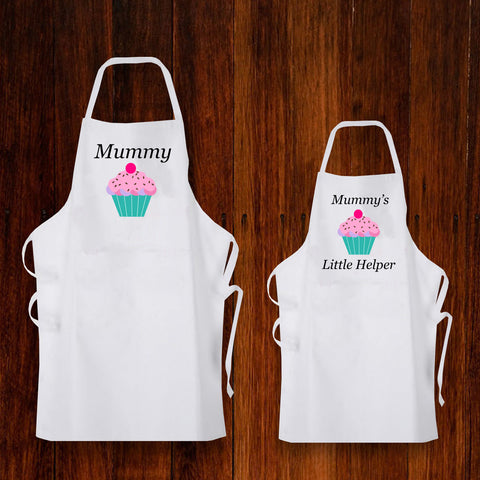 Personalised set of 2 Aprons for Adult/Child