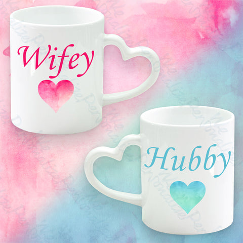 Set of 2 Heart Handle Mugs Hubby & Wifey