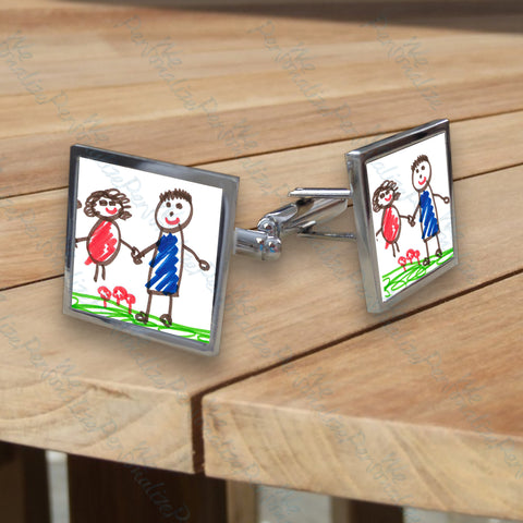 Personalised Square Cufflinks with Child's Drawing