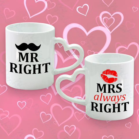 Set of 2 Heart Handle Mugs Mr Right & Mrs Always Right