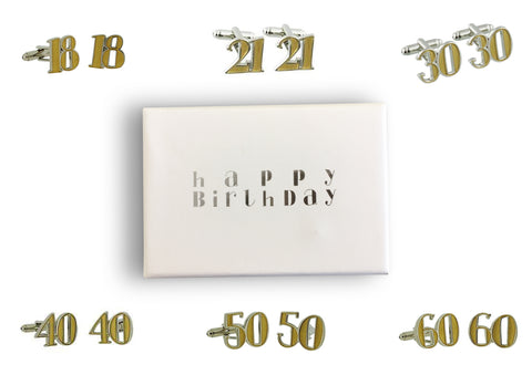 Birthday cufflink - milestone age 18,21,30,40,50 or 60