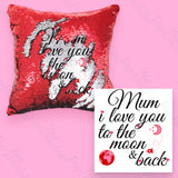 Personalised Red & Silver Sequin Cushion Cover