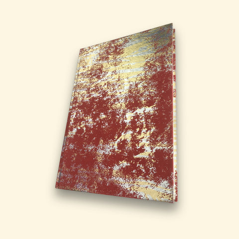 Red and Gold Sari Handmade Paper Journal