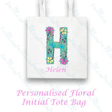 Personalised Floral Alphabet Tote Bag
