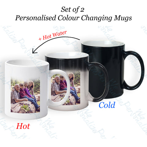 set of 2 personalised colour changing Mugs