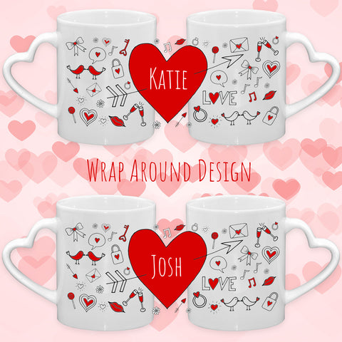 Set of 2 Heart Handle Mugs Doodle Design