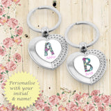 Set of 2 Personalised Floral Alphabet Heart Keyrings