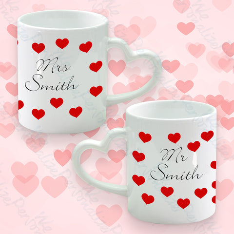 Set of 2 Heart Handle Mugs Heart Design