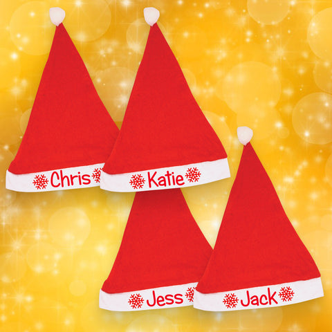 Set of 4 Personalised Santa Hats