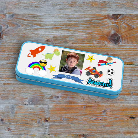 Personalised Blue Stationary Tin