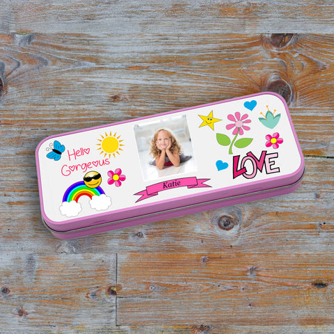 Personalised Pink Stationary Tin