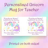 Set of 2 Personalised Unicorn Mug for Teachers