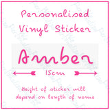 Personalised Name Sticker set of 4 for Water Bottle, Lunch Box or glass