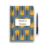Personalised Guitar Patterned Notebook