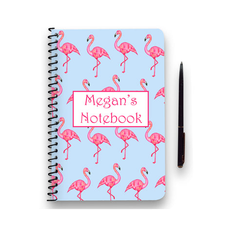 Personalised Flamingo Patterned Notebook