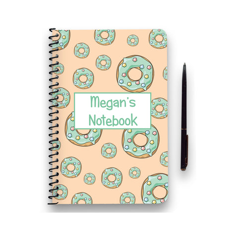 Personalised Green Doughnut Patterned Notebook