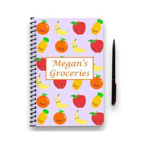 Personalised Kawaii Fruit Patterned Notebook