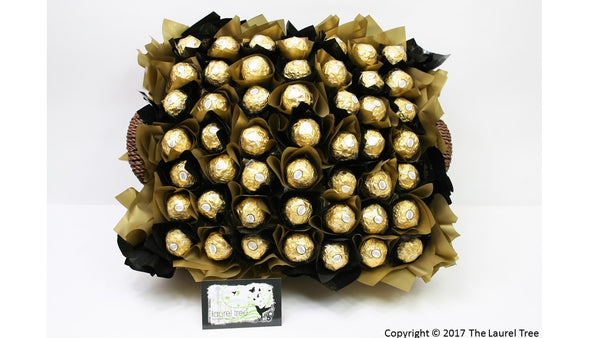 LAUREL TREE BASKET OF GOLD CHOCOLATE BOUQUET