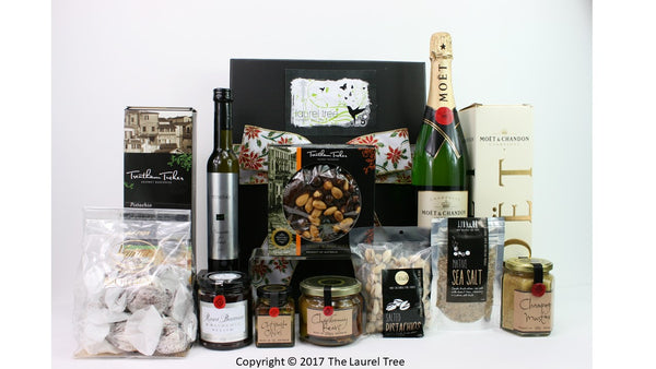 LAUREL TREE GOLDEN MOET CHRISTMAS GIFT HAMPER