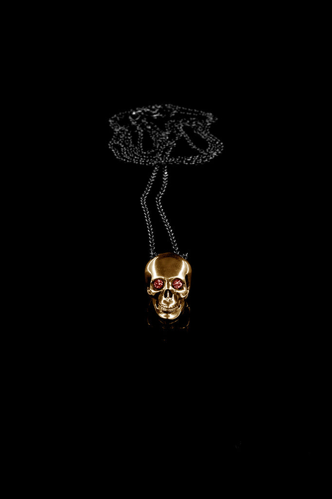 Classic Skull Pendant with Rubies