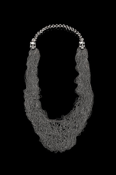 Double Skull Chains Necklace