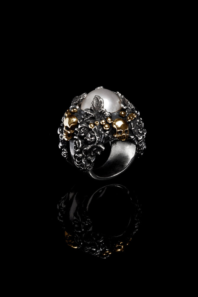 Pearl Foliage & Skulls Ring