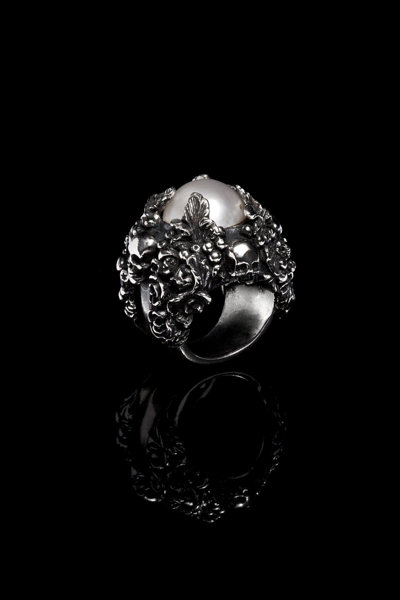 Ugo Cacciatori, Silver, Jewelry, Sterling Silver, Ring, Light Pearl, Light Pearl and Black Diamonds, Light Pearl and Brown Diamonds, Light Pearl and Emeralds, Light Pearl and Rubies, Light Pearl and Sapphires