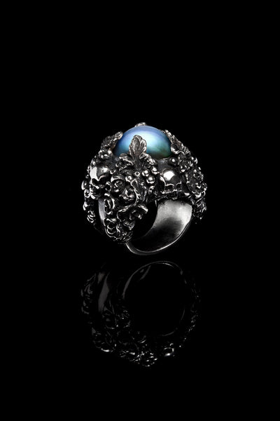 Ugo Cacciatori, Silver, Jewelry, Sterling Silver, Ring, Dark Pearl, Dark Pearl and Black Diamonds, Dark Pearl and Brown Diamonds, Dark Pearl and Emeralds, Dark Pearl and Rubies, Dark Pearl and Sapphires