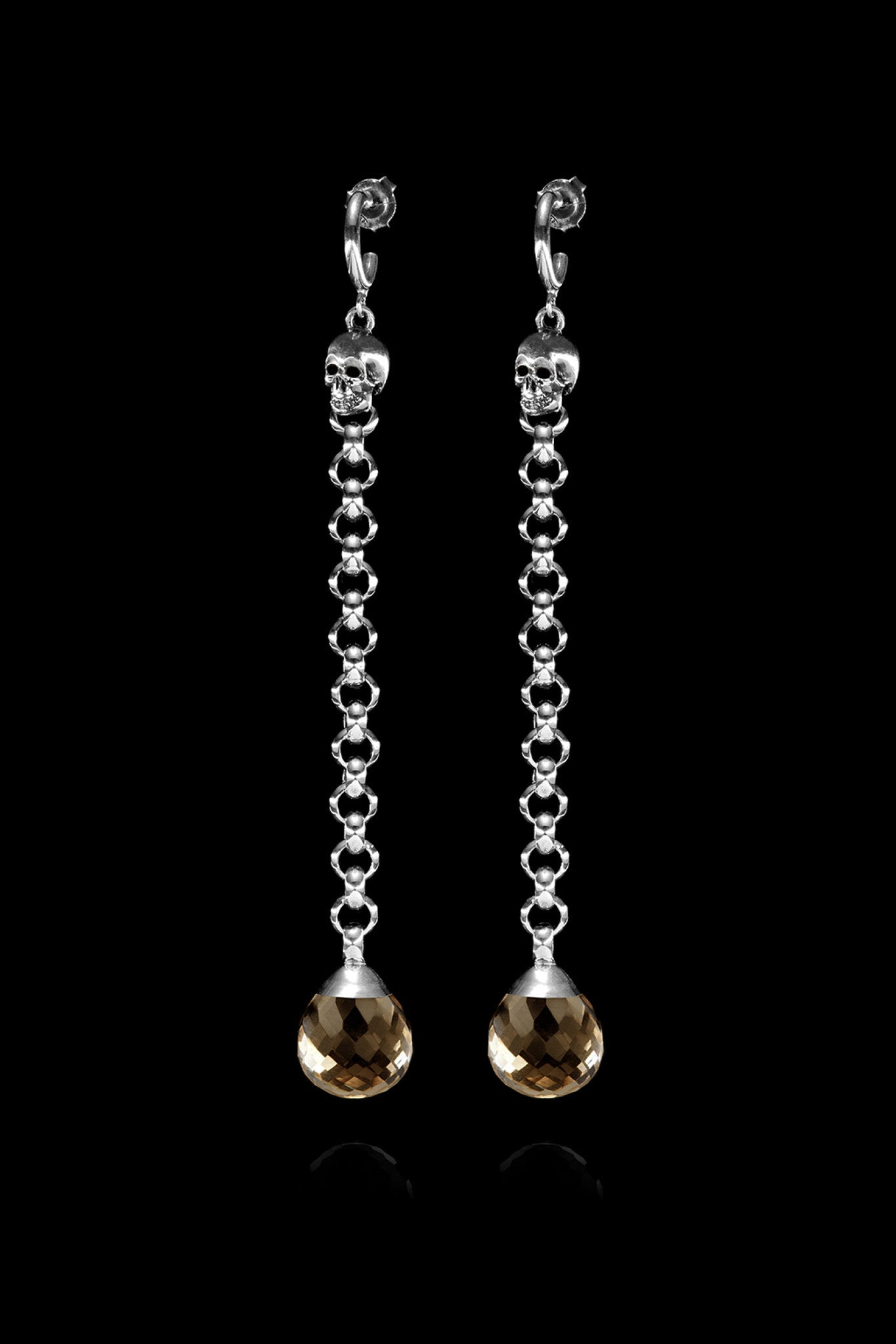Ugo Cacciatori, Silver, Jewelry, Sterling Silver, Earrings, Smoky Quartz, Smoky Quartz and Black Diamonds, Smoky Quartz and Brown Diamonds, Smoky Quartz and Emeralds, Smoky Quartz and Rubies, Smoky Quartz and Sapphires