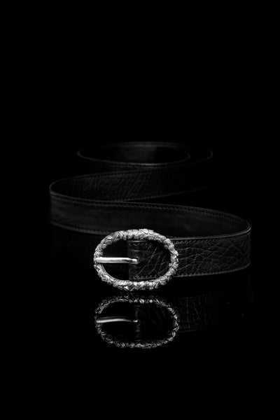 Ugo Cacciatori, Silver, Accessories, Sterling Silver + Leather, Belt, Black Wrinkled Leather