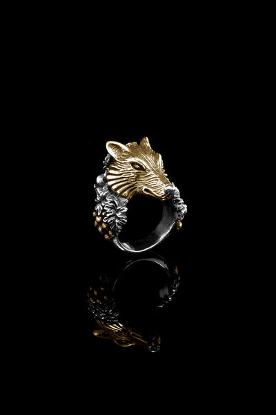 Ugo Cacciatori, Gold, Jewelry, 9kt Gold + Sterling Silver, Ring, Gold + SIlver, Black Diamonds, Brown Diamonds