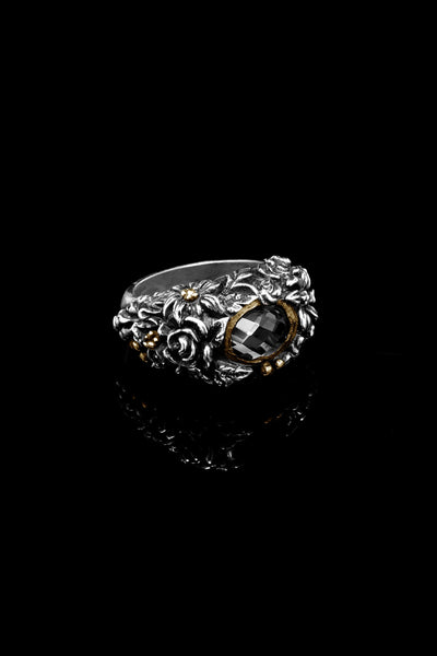 Ugo Cacciatori, Gold, Jewelry, 9kt Gold + Sterling Silver, Ring, Onyx, Smoky Quartz