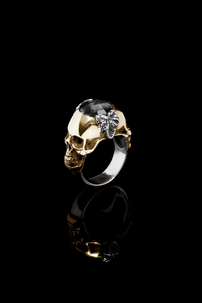 Ugo Cacciatori, Gold, Jewelry, 9kt Gold + Sterling Silver, Ring, Onyx, Onyx and Black Diamonds, Onyx and Brown Diamonds
