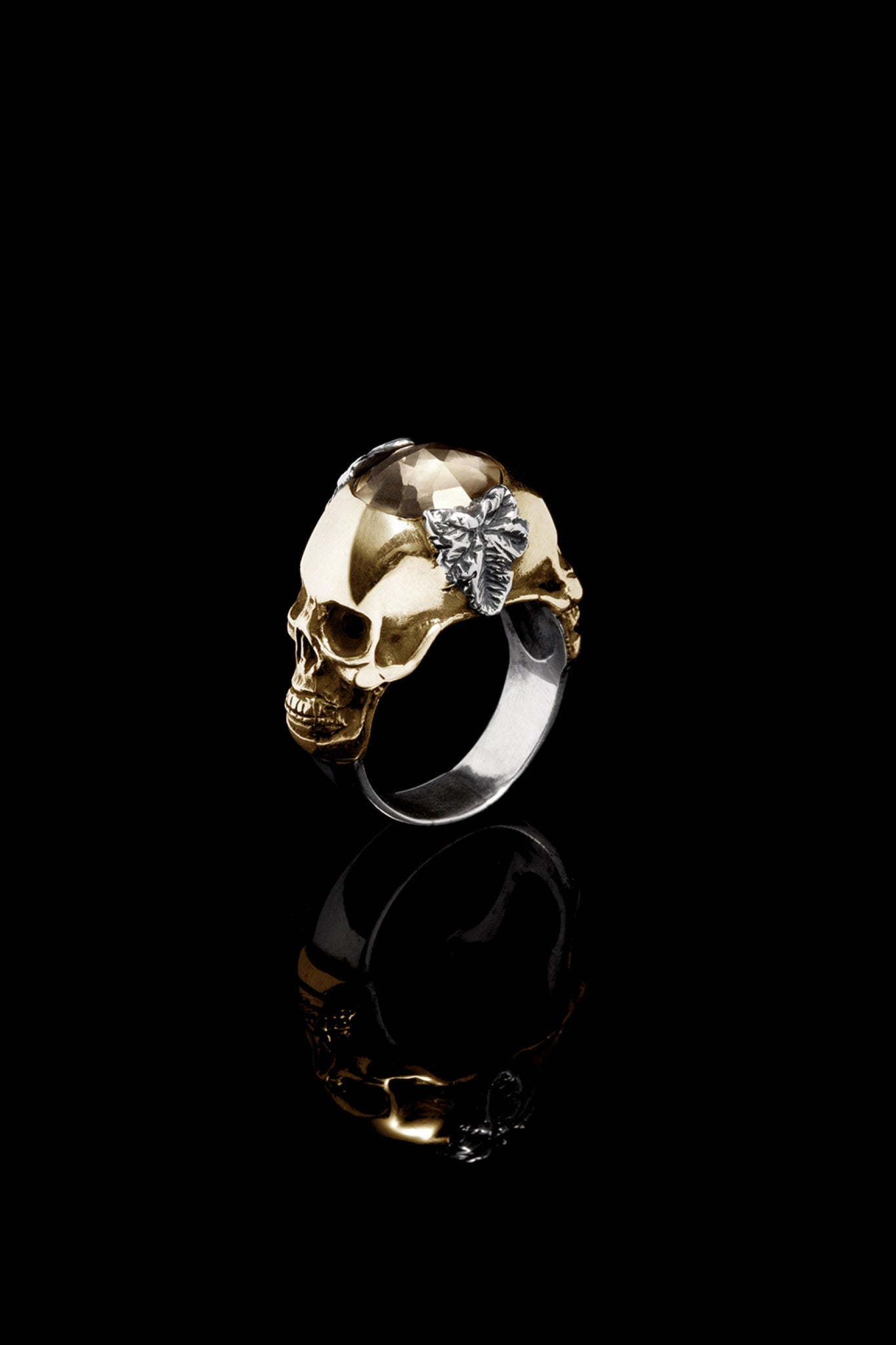 Ugo Cacciatori, Gold, Jewelry, 9kt Gold + Sterling Silver, Ring, Smoky Quartz, Smoky Quartz and Black Diamonds, Smoky Quartz and Brown Diamonds